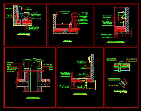 دانلود نقشه اتوکد جزییات اجرایی توالت فرنگی و ایرانی ، سینک دستشویی ، آبرو بام ، تی شور ، درپوش داکت تاسیسات